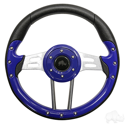 Golf Cart Steering Wheel 13 Inch Blue Grip Aluminum Spokes
