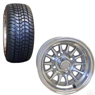 "10"" Aluminum Golf Cart Wheel and Street Tire Combo"