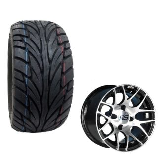 GTW Pursuit Golf Cart Wheel and Tire Combo Street Tread 22x11x12