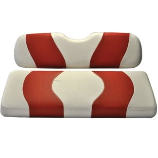 Golf Cart Rear Flip Seat Cover Set White and Red Wave 10-021