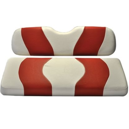 Golf Cart Seat Cover White and Red Wave Club Car Prec 10-015