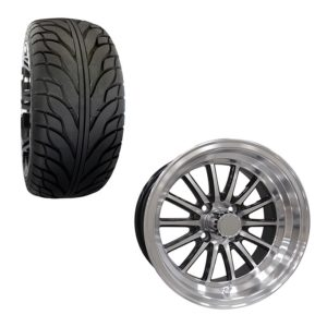 Golf Cart Wheel and Tire Combo 215x35x14 Street Spoke Black