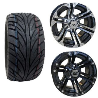 Golf Cart Wheel and Tire Combo Street Tread 22x11x12 Opt 6